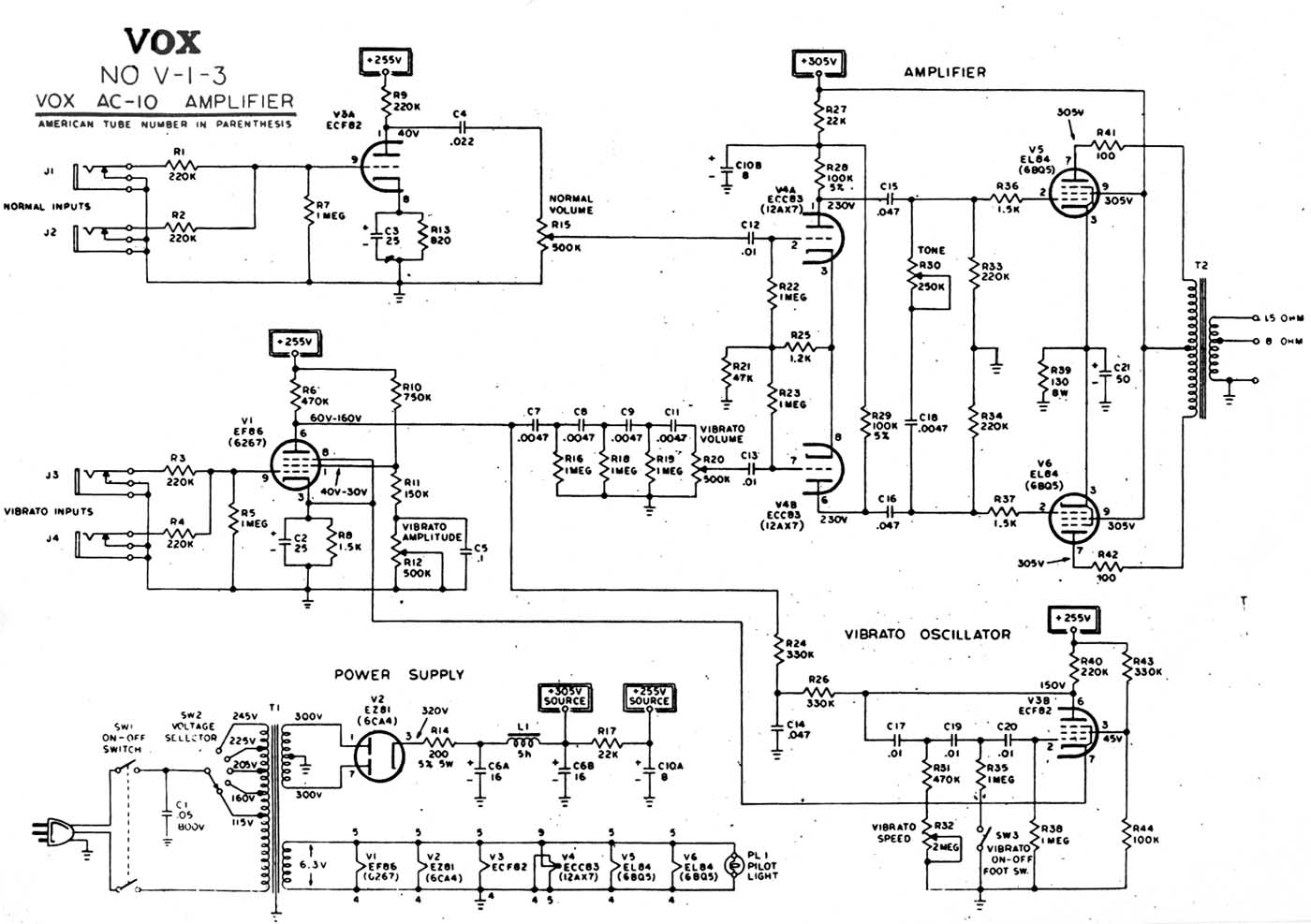 Vox Vintage Circuit Diagrams Fender Jaguar Wiring Diagram For 1963 Ac10 1960 Alternative Download