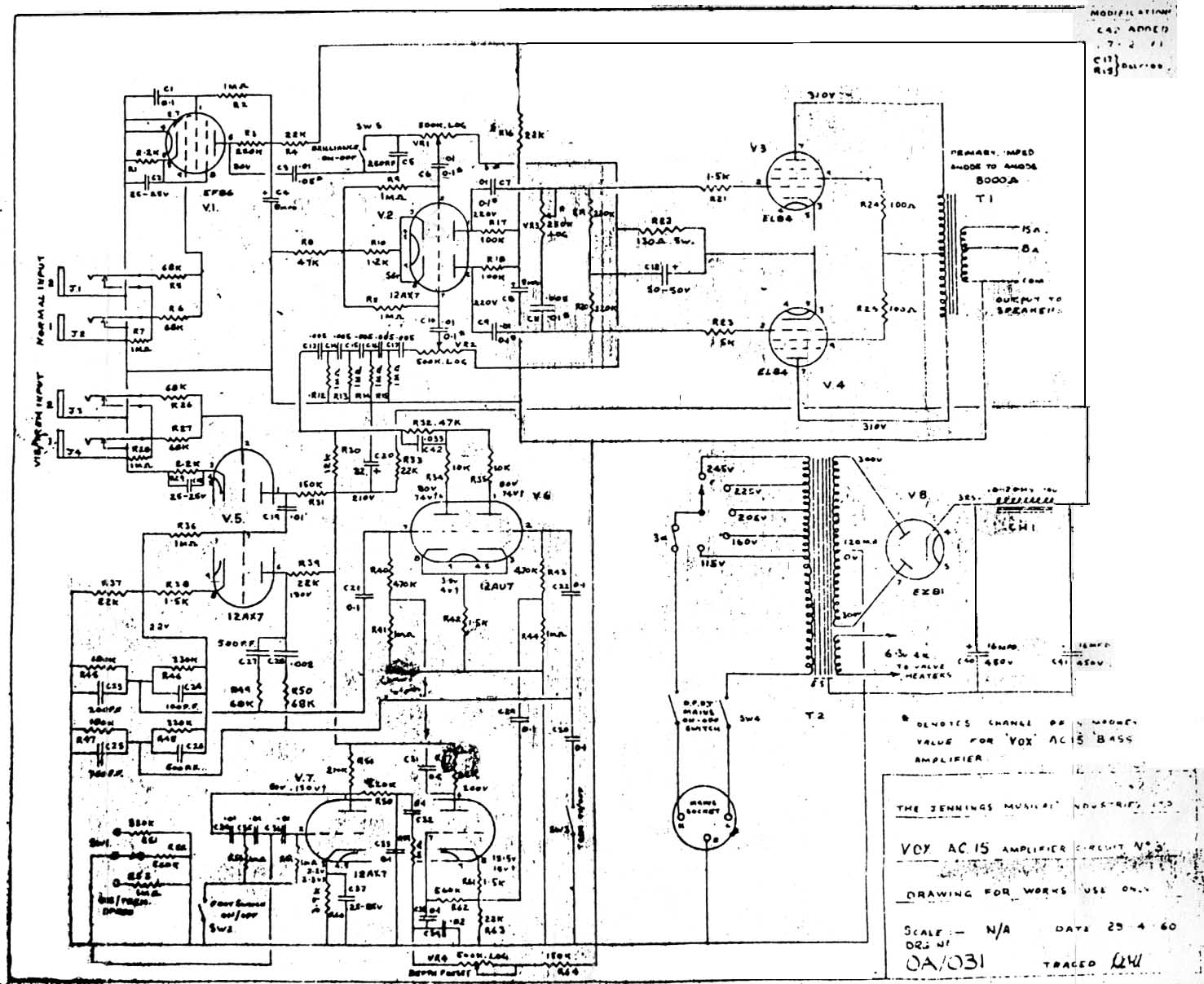 Vox Vintage Circuit Diagrams Common Electric Guitar Wiring Amplified Parts Ac15 1960 Download Diagram