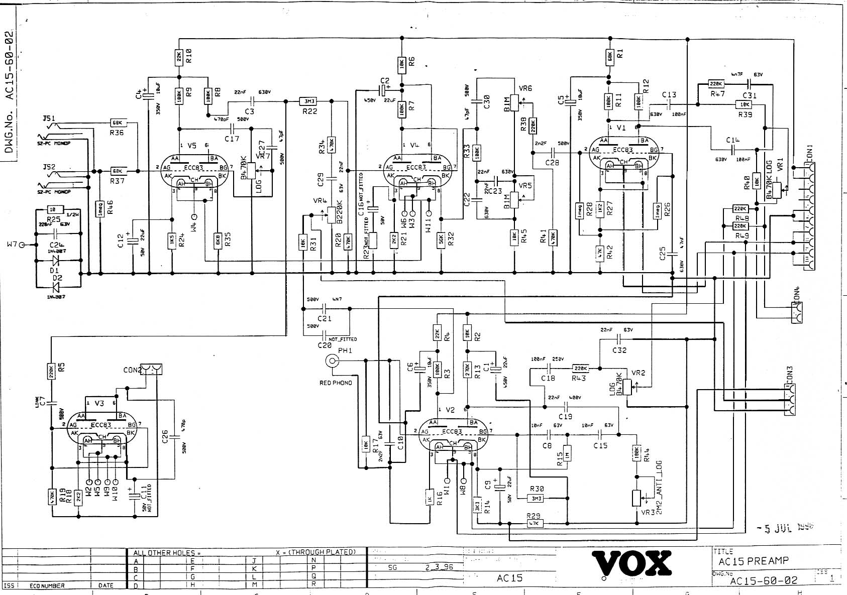 Vox Vintage Circuit Diagrams Ac Schematic Ac15 1996 Onward Pre Amp Section