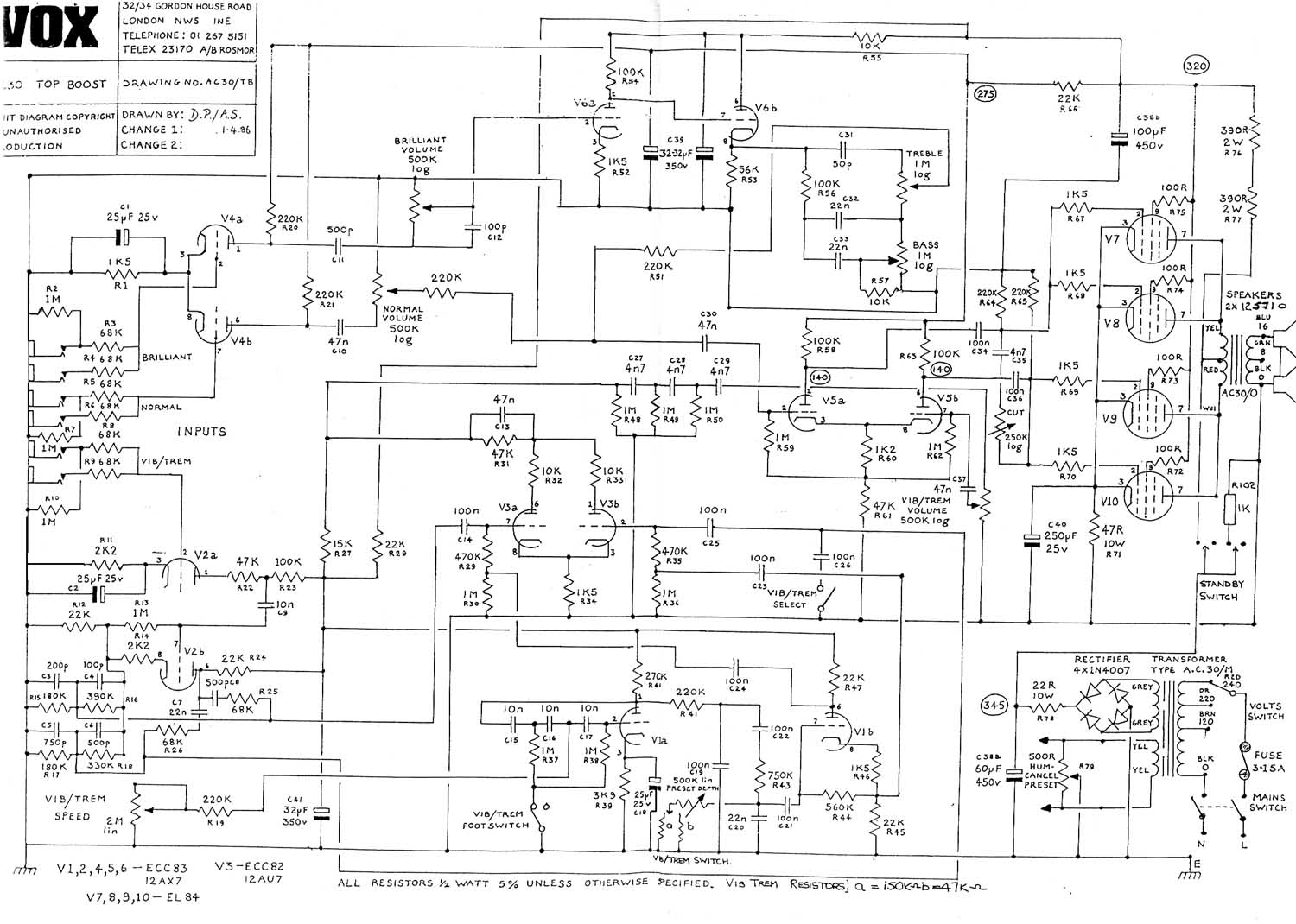 Vox Vintage Circuit Diagrams 1987 Nissan Pathfinder Wiring Ac30 Top Boost 1986 Download Diagram