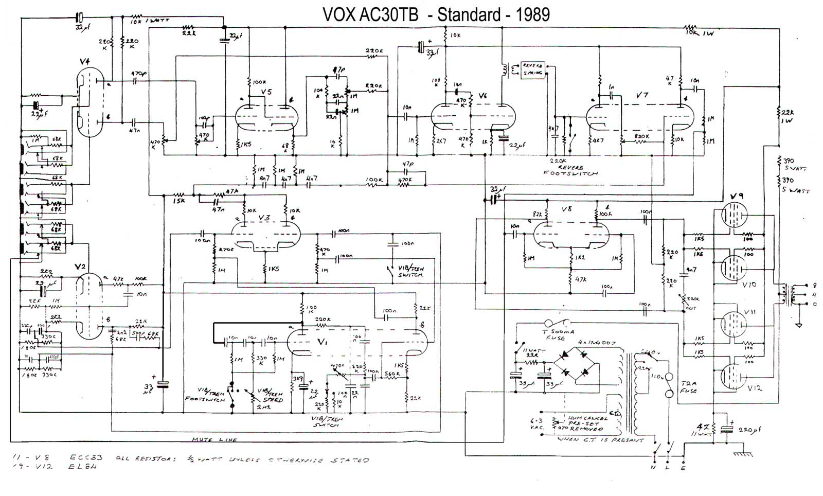Vox Vintage Circuit Diagrams Diagram Of A Single Pole Light Switch Free Download Wiring Ac30 Top Boost 1989