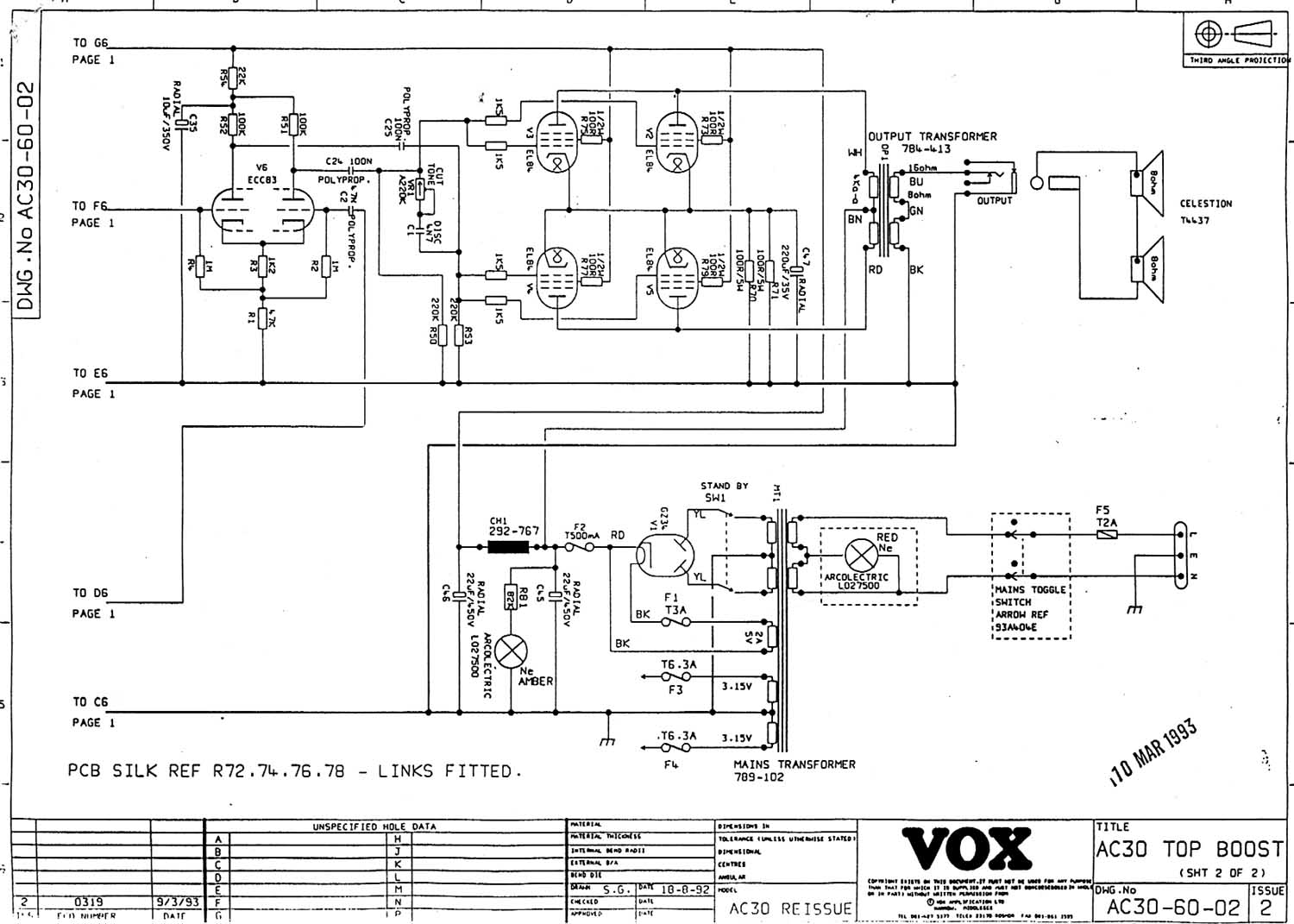 Vox Vintage Circuit Diagrams 12 Volt Power Supply Likewise Audio Lifier In Ac30 Amp Section Of The Top Boost Re Issue 1993 Onward Download Diagram