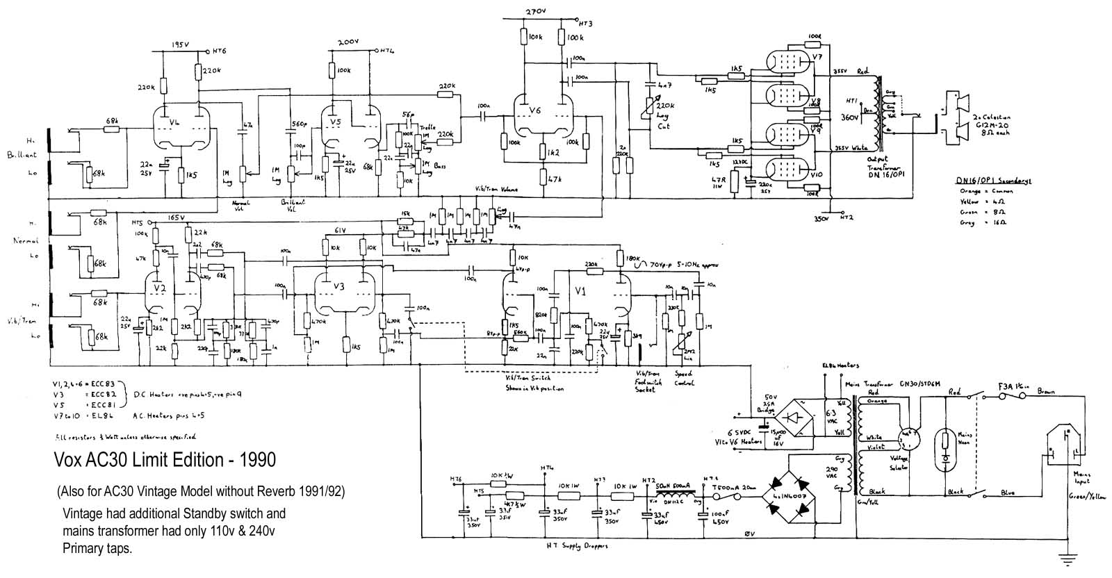 Vox Vintage Circuit Diagrams Schematic To Wiring Diagram Download