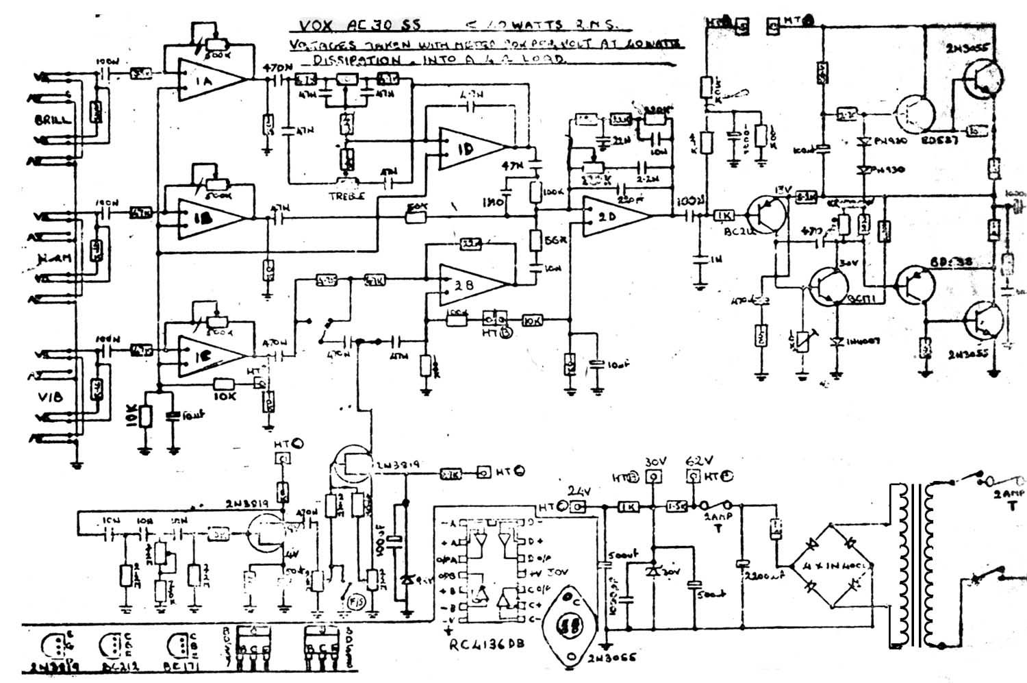 Solid State Amp Wiring Diagram Data Amplifier Car Vox Vintage Circuit Diagrams 5 Channel Ac30 Ss Model 1970s