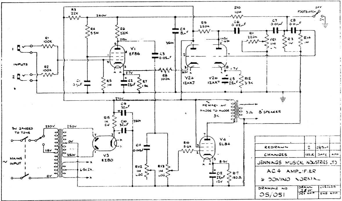 Vox Vintage Circuit Diagrams 4 Wire 250v Schematic Diagram Ac4 1960 Download
