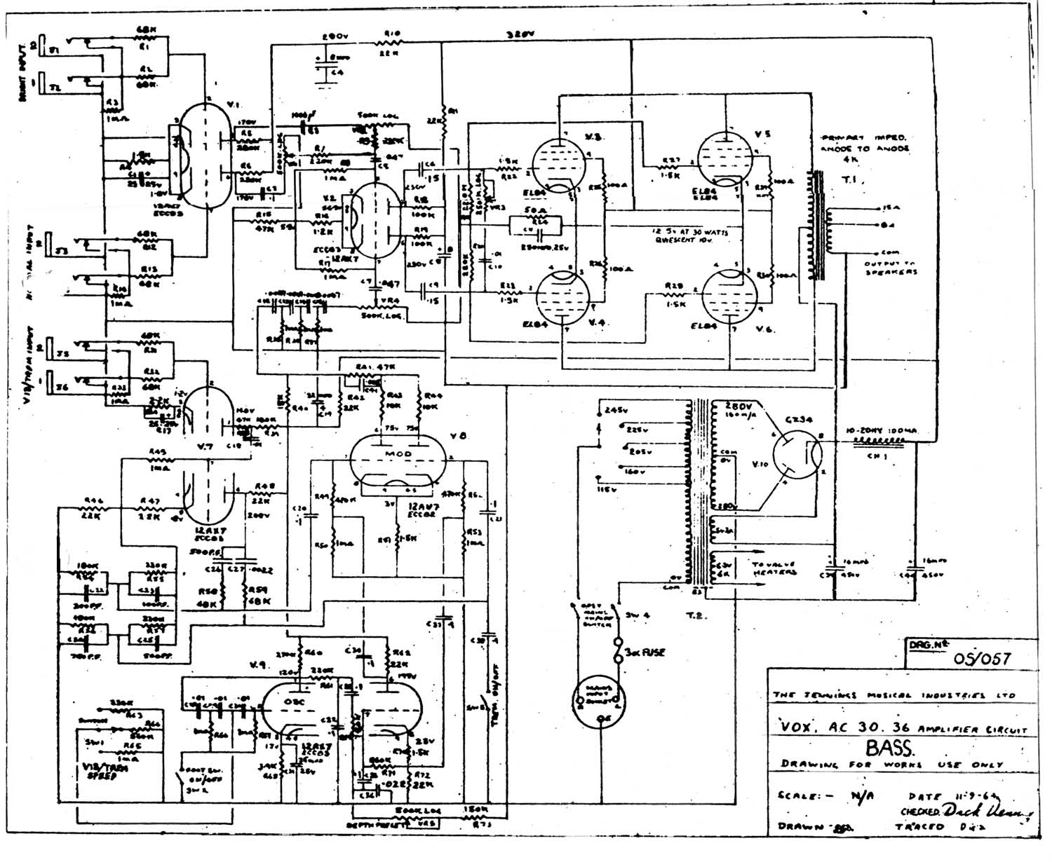 Vox Vintage Circuit Diagrams P Bass Diagram Ac30 Model 1964 Download