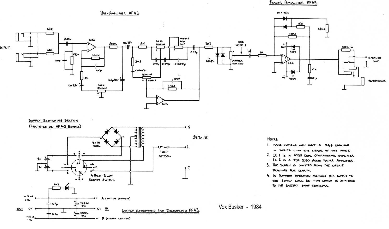 Vox Vintage Circuit Diagrams Rotary Switch Wiring Diagram Likewise Busker Mid 1980s Download