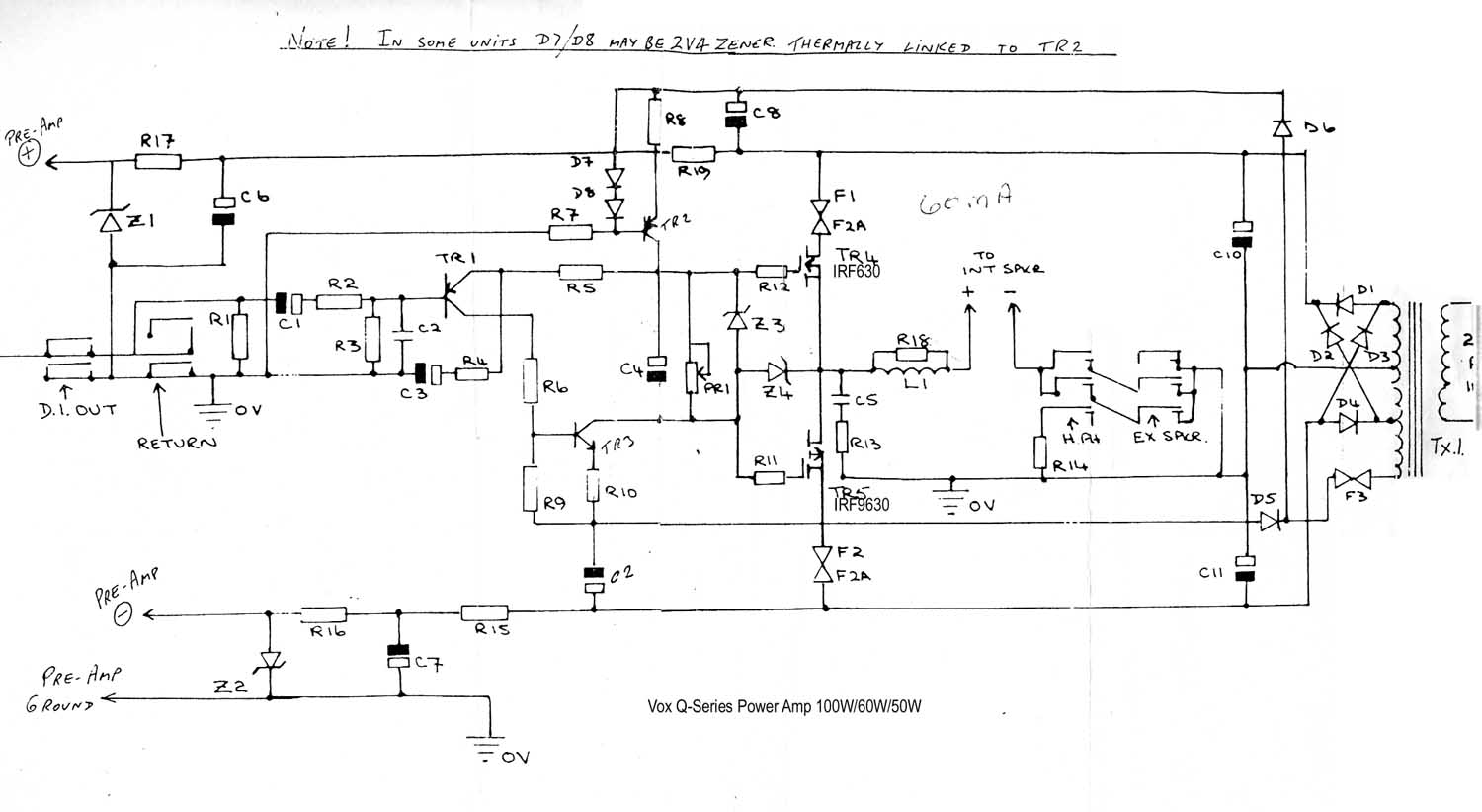 Vox Vintage Circuit Diagrams 50 Watt Transistor Amplifier 1987 Download Diagram