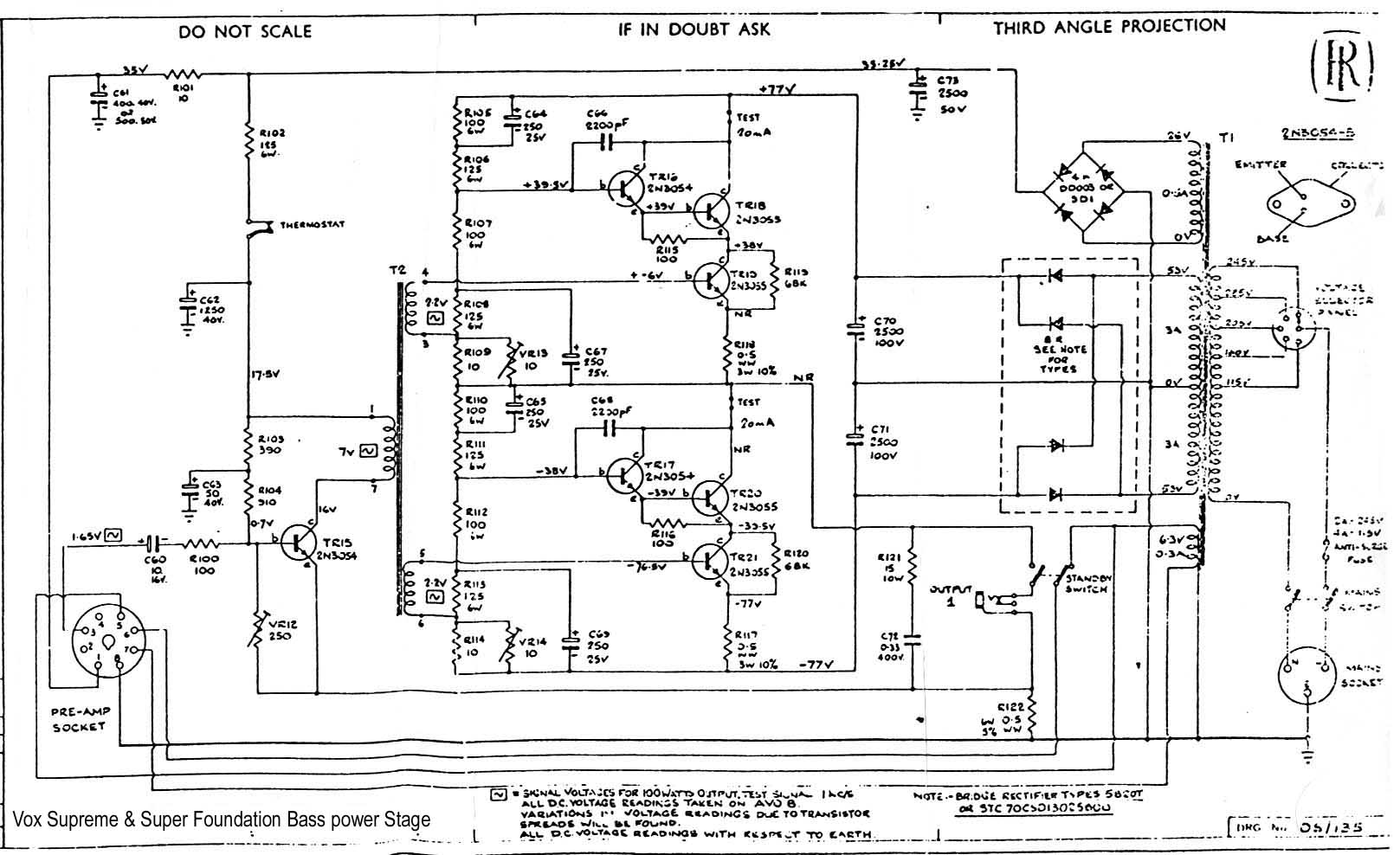 vox vintage circuit diagrams supreme super foundation bass power amp stage 100 watt 1969 diagram