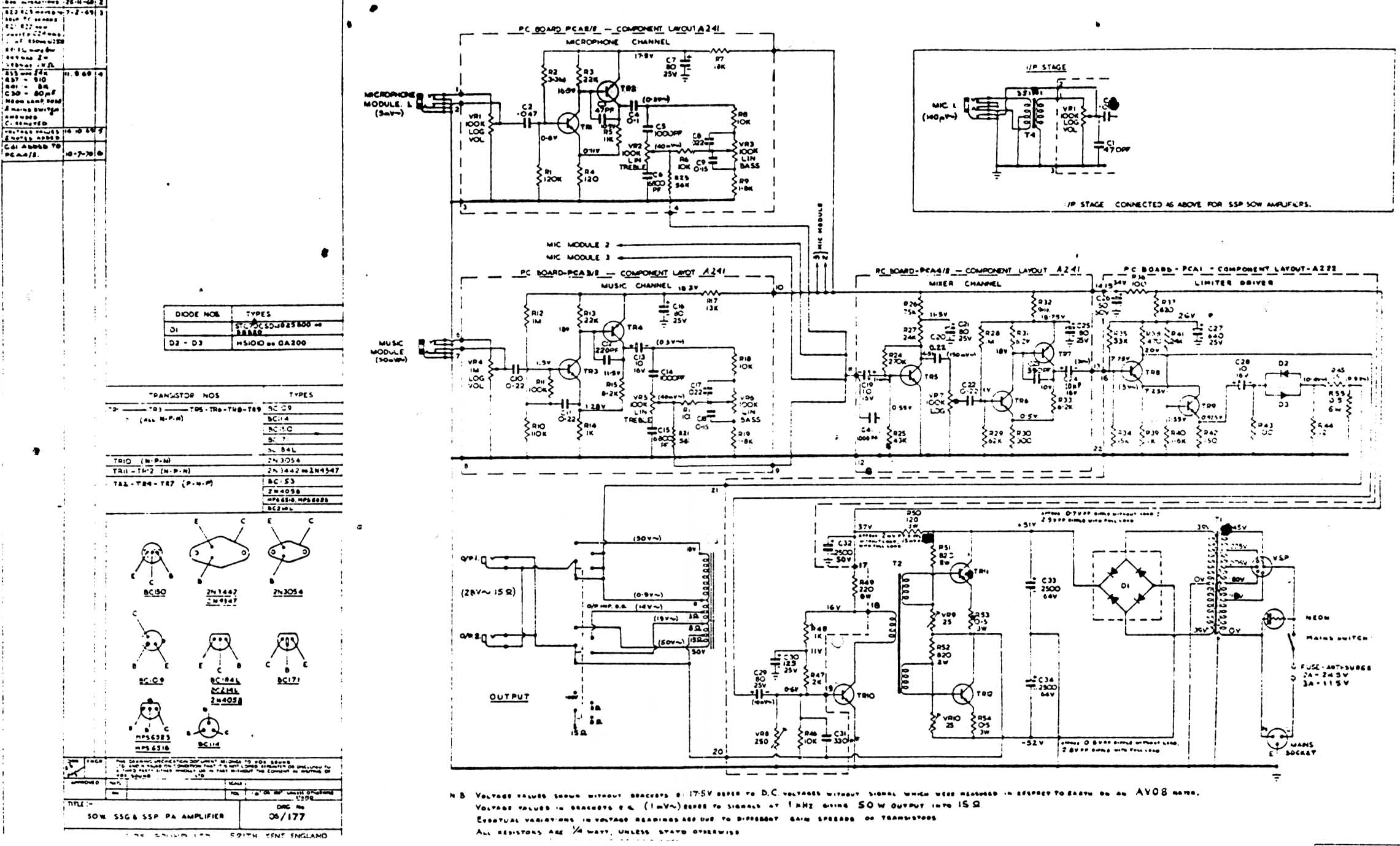 Solid State PA 50 (SSPA50) 50 watt- late 1960's, [ Download Diagram ]