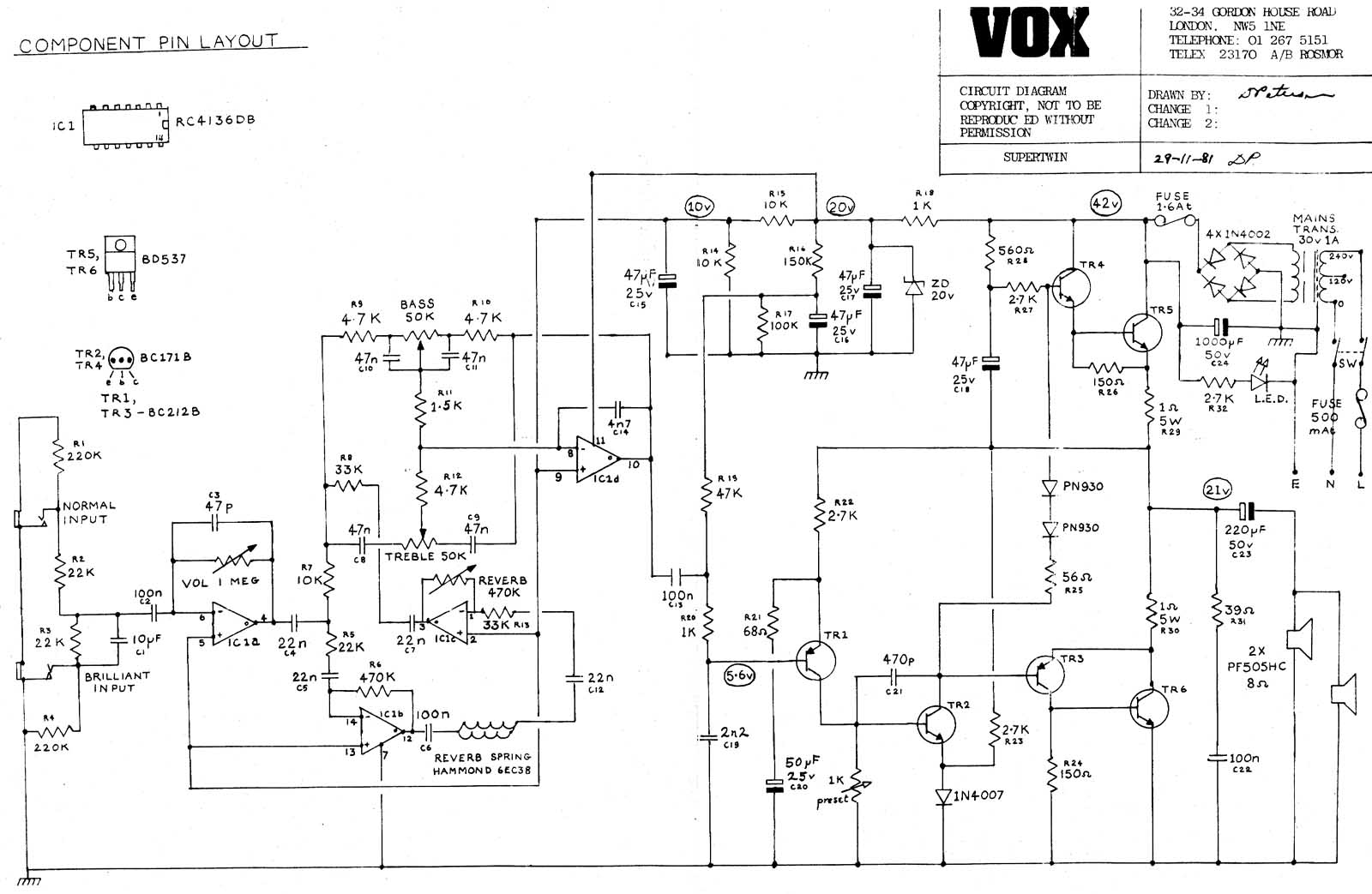 Vox Amp Schematic Wiring Diagrams Pathfinder 10 Cable Harness And Setting Diagram Vintage Circuit Rh Korguk Com Beatle