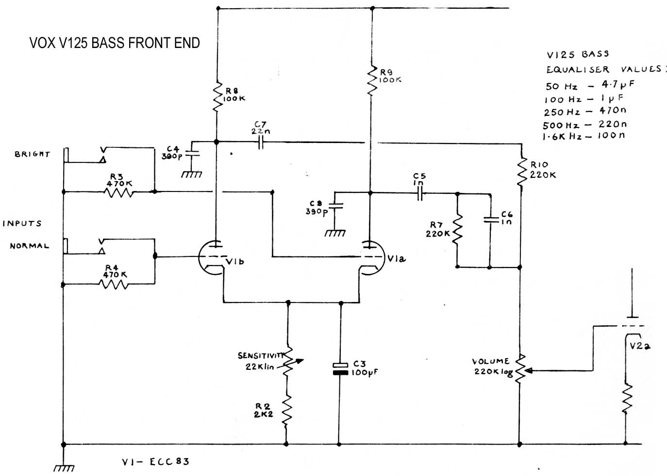 V125 Bass valve head front input stage - 1981, [ Download Diagram ]
