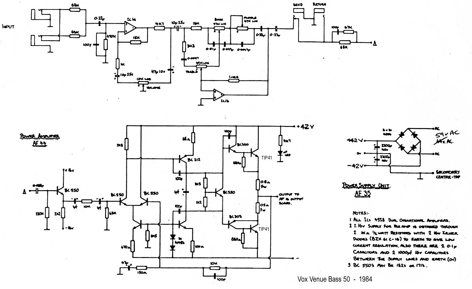 Vox Vintage Circuit Diagrams Fender Jazz Wiring Diagram Free Download Schematic Venue Bass 50 1984