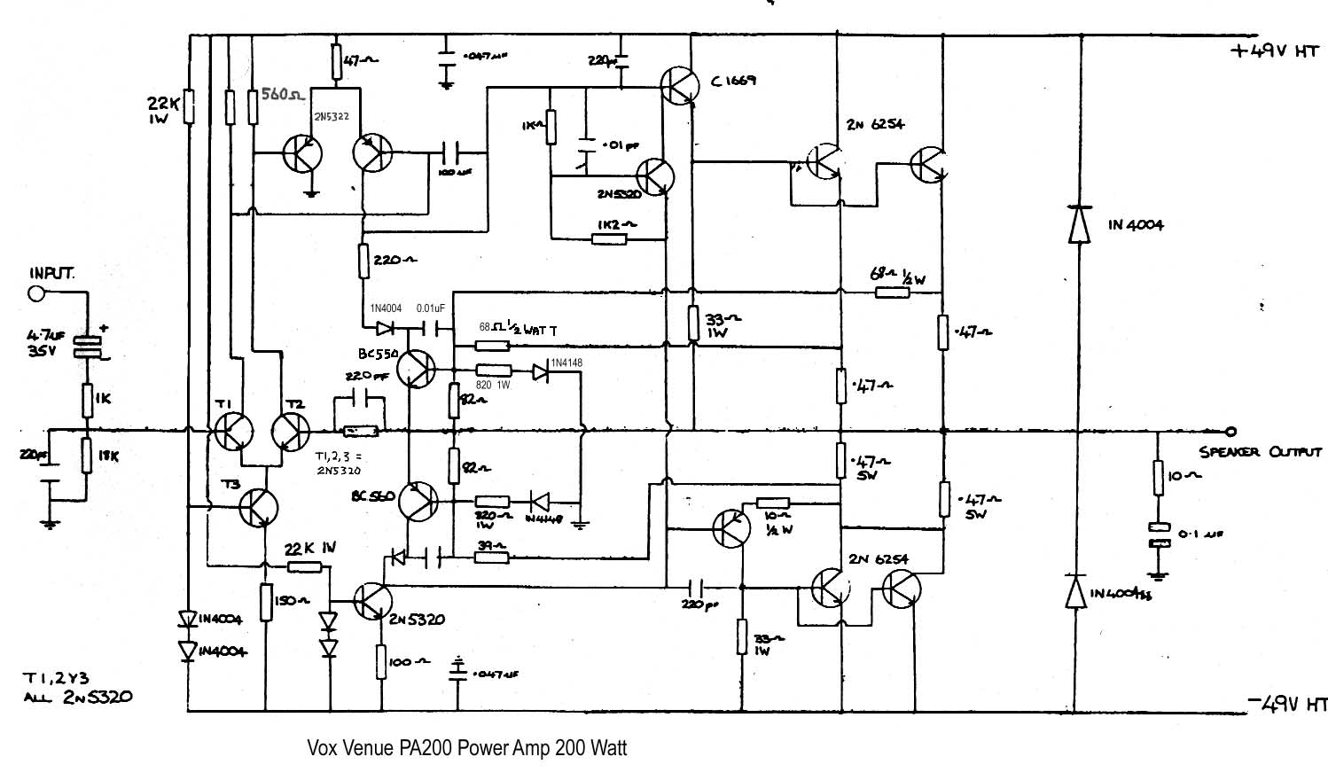 vox vintage circuit diagrams guitar amplifier schematics venue 200 watt power amp stage for pa200 1985, [ download diagram ]